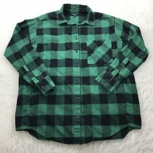ROOTS Flannel 100% cotton; forest green and black.